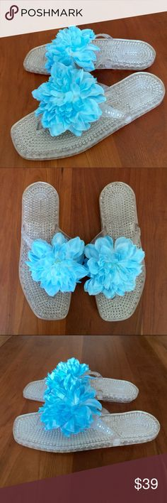 Kate Spade Jelly Flip Flops Kate Spade Jelly Sandals flip flops. Sz 6. Clear base and thong with a baby blue flower. In excellent, like new condition. kate spade Shoes Sandals