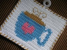 Coffee Time Potholder Crochet PATTERN  INSTANT DOWNLOAD