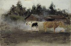 Artwork by Eero Järnefelt, Cows in Turf Smoke, study, Made of Oil on canvas Finland Chur, Scandinavian Art, Oil On Canvas, Past, Illustration Art, Fine Art, History, Gallery, Artist