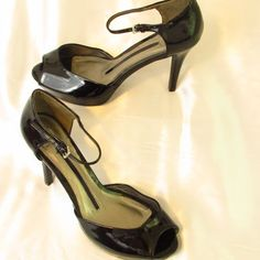 76b9e88f14 N E W Directions Shoes Peep Toe High Heels-Ankle Strap-Black-Platform-Size