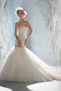 2013 Wedding Dresses Trumpet/Mermaid Sweetheart Sweep/Brush Train Organza Applique USD 229.89 LDP9KT4GBR - LovingDresses.com