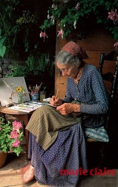"""Tasha Tudor 2004 Illustrator & eccentric. """"If I do have a philosophy, it is best expressed by Henry David Thoreau, 'If one advances confidently in the direction of his dreams, and endeavors to live the life which he has imagined, he will meet with a success unexpected in common hours.'"""""""