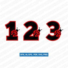 Ladybug Numbers First Second Third Fourth 1st 2nd 3rd 4th 5th Birthday Party SVG Vector Silhouette C