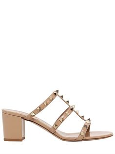 VALENTINO 60Mm Rockstud Patent Leather Sandals, Camel. #valentino #shoes #sandals
