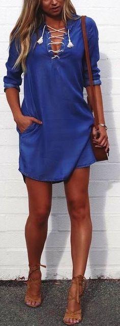 Blue Laced Up Dress + Brown Sandals + Brown Leather Shoulder Bag