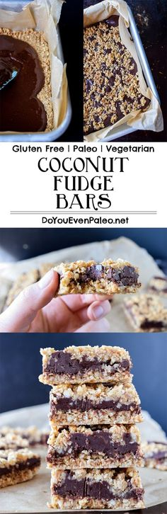 Coconut Fudge Bars - featuring a chewy & crunchy base filled with rich cacao and sunflower seed butter fudge. #Glutenfree, #paleo, and #vegetarian!   http://DoYouEvenPaleo.net