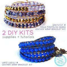 2 leather wrap bracelet kits: amethyst gold by julysupply on Etsy