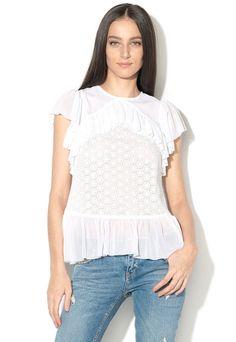 Bluză damă albă cu dantelă, volănașe și mâneci scurte Guess Jeans