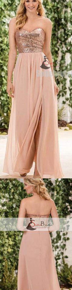 Sweetheart Sequin Top Side Slit Bridesmaid Dresses, A-line Chiffon Wedding Guest Dress, PD0425