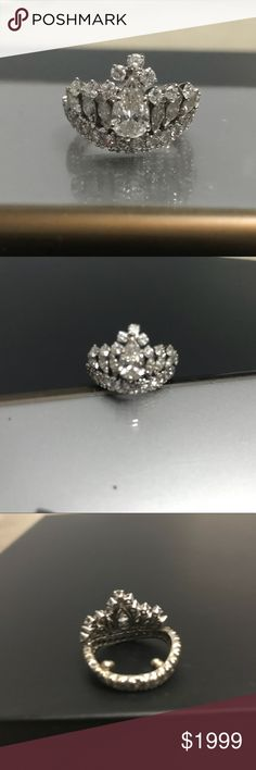  vintage diamond ring!! Absolutely stunning crowned shaped diamond ring! Original purchase letter from 1976 included. Ring has been evaluated by Silverstone jewelers in Howell Michigan. You may contact them to verify. Center stone is a pear shaped 1 carat diamond. Center-stone is nearly colorless but does have an occlusion. Also includes 10 round brilliant cut's and six marquis diamonds. There is a total of 46 stones. Set in 14 karat gold. Original purchase price $3000. Estate. Vintage…