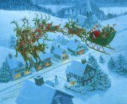 Santa and Reindeer Cross Stitch Pattern Christmas Scenes, Christmas Past, Father Christmas, Christmas Pictures, Christmas Holidays, Holiday Pics, Christmas Train, Christmas Quotes, Christmas Countdown