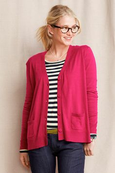 Women's Long Sleeve Boxy V-neck Cardigan from Lands' End