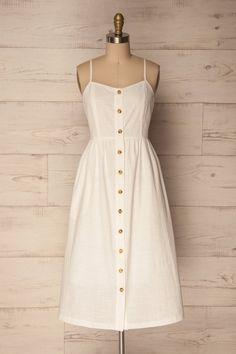 Borre Lait White Button-up Pleated A-line Dress Simple Dresses, Pretty Dresses, Casual Dresses, Summer Dresses, Cream Dress Outfit, Dress Outfits, Vintage Inspired Dresses, Vintage Dresses, Bodycon Dresses Uk
