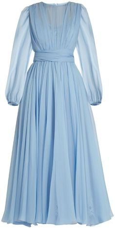 24 New Ideas Dress Hijab Chiffon Silk Blue Dress Outfits, Baby Blue Dresses, Modest Dresses, Casual Dresses, Fashion Dresses, Baby Dress, Hijab Evening Dress, Hijab Dress Party, Evening Dresses