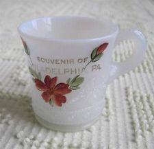 EAPG Hand Painted Philadelphia Pennsylvania Opalescent Souvenir Cup