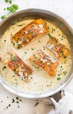 Tender pan-seared salmon in a creamy lemon garlic butter sauce is easy, quick, and sure to become a family favorite dinner! Tender pan-seared salmon in a creamy lemon garlic butter sauce is easy, quick, and sure to become a family favorite dinner! Healthy Salmon Recipes, Fish Recipes, Seafood Recipes, Cooking Recipes, Dinner Recipes, Healthy Dinners, Quick Recipes, Best Salmon Recipe, Pan Cooking