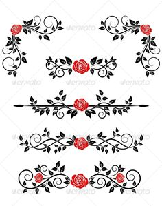 Buy Roses with Floral Embellishments by VectorTradition on GraphicRiver. Roses with floral embellishments and borders for design. Editable (you can use any of your vector program) and J. Embroidery Patterns, Machine Embroidery, Rose Clipart, Vine Tattoos, Doodle Designs, Border Design, Vintage Roses, Lower Back Tattoos, Flourish
