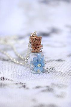 blue necklace mini bottle necklace terrarium jewelry by SweetLine