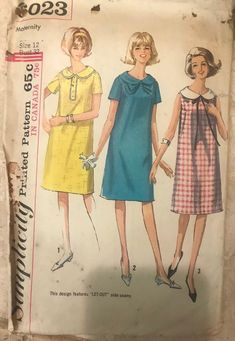 Excited to share this item from my shop: 1965 Simplicity Pattern 6023 Maternity Dress Maternity Sewing Patterns, Vintage Sewing Patterns, Clothing Patterns, 60s Patterns, Dress Patterns, Sewing Ideas, Maternity One Piece, Decades Fashion, Sewing Clothes