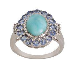 Larimar With Tanzanite Ring