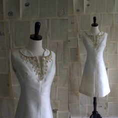 1960s Raw Silk Off White Beaded Cocktail Dress $78.00