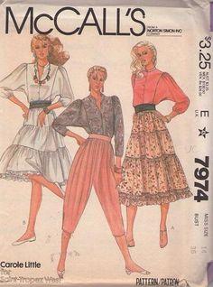 MOMSPatterns Vintage Sewing Patterns - McCall's 7974 Vintage 80's Sewing Pattern FUNKY COOL Designer Carole Little Draped Capri Knickers, MC Hammer Genie Pants, Tiered Prairie Boho Western Skirt Size 12