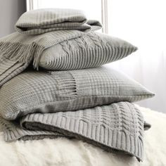 Cliveden Throw & Cushion Covers - Silver from The White Company
