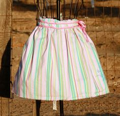 Pretty apron, the stripes are the best! Pink Teal and Lavender Striped Apron with by Geminivintagestore, $28.00 #apron #hostessgift #hostessapron