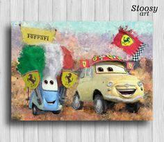 Luigi and Guido poster disney cars decor kids art print