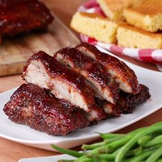 Baby Back Ribs One-Pan BBQ Baby Back Ribs. Minus the sugar and sauce. SMcOne-Pan BBQ Baby Back Ribs. Minus the sugar and sauce. Pork Recipes, Cooking Recipes, Cooking Tv, Meatloaf Recipes, Healthy Recipes, Bbq Baby Back Ribs, Baby Back Pork Ribs, Pork Spare Ribs, Good Food