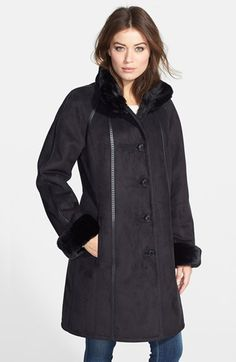 Gallery Long Faux Shearling Coat with Faux Fur Trim (Online Only) available at #Nordstrom