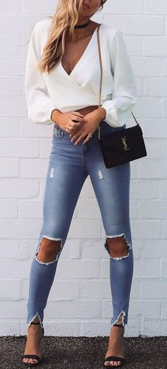 #fall #outfits  White Wrap Top + Destroyed Skinny Jeans + Black Sandals