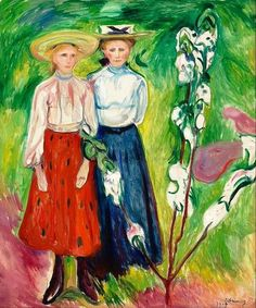 "Edvard Munch - ""Two girls under an apple tree in bloom"", 1905. selected by www.onlyart.eu"