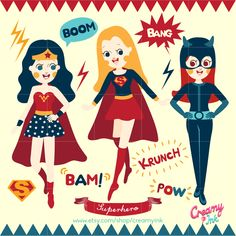 Superhero clip art featuring superwoman, wonder man, catwoman and sound effect bubbles which are perfect for kids party. See more at CreamyInk.etsy.com