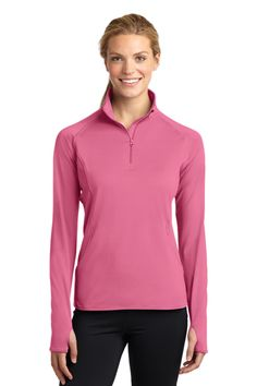 Sport-Tek Ladies Sport-Wick Stretch 1/2-Zip Pullover. LST850   6.8-ounce,  90/10 poly/spandex Tag-free label  Gently contoured silhouette  Chin guard eliminates skin irritation  Cadet collar