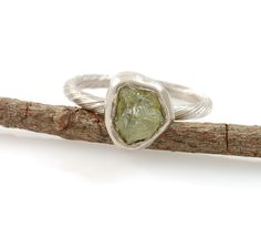 non-traditional engagement ring Rough Green Sapphire and palladium/silver vine ring  by BethCyr
