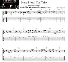Every Breath You Take - Sting - Easy Guitar Tab Guitar Tabs And Chords, Learn Acoustic Guitar, Easy Guitar Tabs, Music Theory Guitar, Easy Guitar Songs, Guitar Chords For Songs, Music Chords, Guitar Lessons, Dj Music