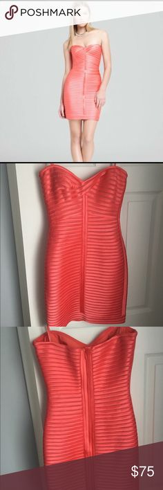 BCBG coral dress Beautiful, coral, mini dress.  Worn once for a wedding!  Perfect condition. BCBG Dresses Mini