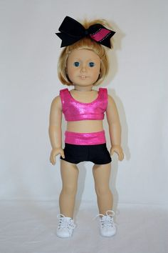 """Cheerleader Outfit for American Girl 18"""" Doll - Sports Bra, Spandex ..."""