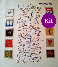 Map of Westeros cross stitch kit Game of Thrones
