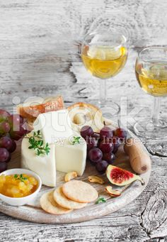 This photo including wine and cheese board  is an ideal appetizer if you have guests over.