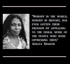 Nobody in the world, nobody in history, has ever gotten their freedom by appealing to the moral sense of the people who were oppressing them.  ~ Assata Shakur
