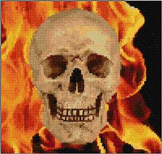 free cross stitch skull with flames!
