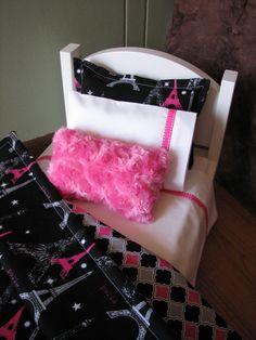 "Modern ""Paris"" Themed American Girl / 18"" doll sized bedding - hot pink / black on Etsy, $28.00"