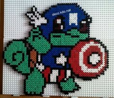 avengers captain america squirtle pokemon perler bead design. Excuse me while I pass out of excitement! Captain America and Squirtle are my too favorite things in the world!