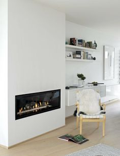 42 Lovely Scandinavian Fireplace To Rock This Year - Modern Home Design Home Fireplace, Modern Fireplace, Gas Fireplaces, Fireplace Ideas, Mantel Styling, Scandinavian Fireplace, Installing A Fireplace, Stone Fireplace Designs, Modern House Design