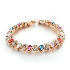 DARLING HER Charm Bracelets /& Bangles Women Jewelry Minnie Pink Bow-Knot Pendant Bracelet DIY Handmade for Girl Gift Rose Gold Color 21cm