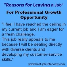 Reason for Leaving a Job - growth opportunity