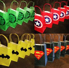 Superhero Party Gift/ Favor Bags by BellaEventsStore on Etsy - Visit to grab an amazing super hero shirt now on sale! Batman Party, Superhero Party Favors, Hulk Party, Superhero Birthday Party, Superhero Party Decorations, Superhero Gifts, Disney Cars Birthday, Hulk Birthday Parties, Superman Birthday