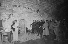 French troops attend Midnight Mass inside Fort Douomont near Verdun, 1916